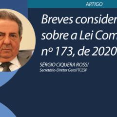 Site do TCE-SP pública artigo sobre a Lei Complementar nº 173, de 2020